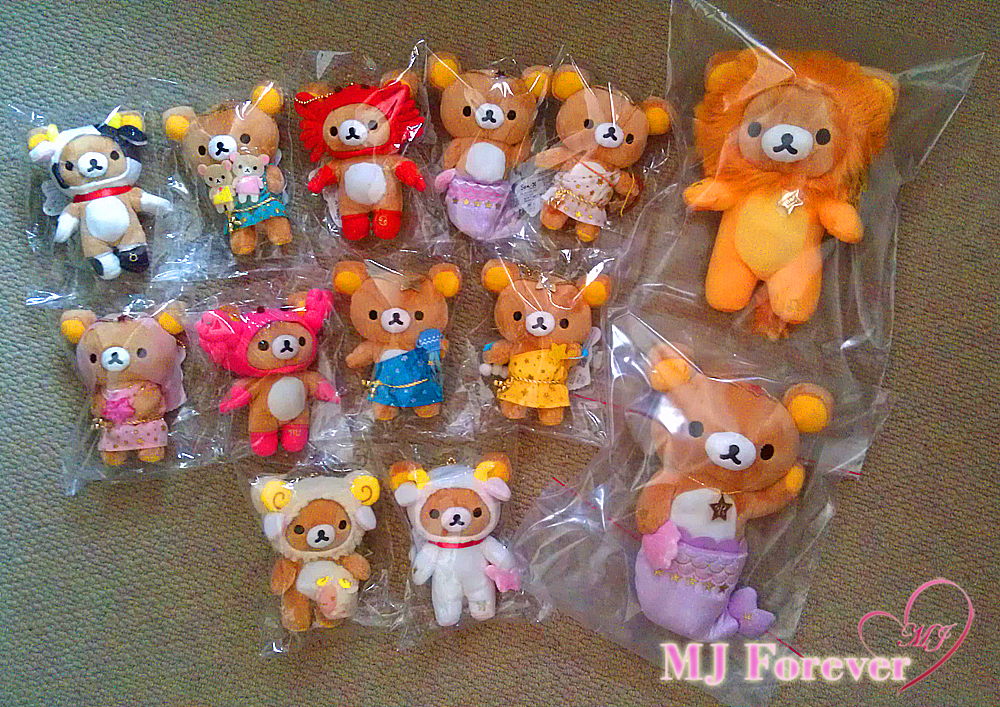 My Zodiac Rilakkuma keychian collection!  With my standard sized Leo and Pisces :P