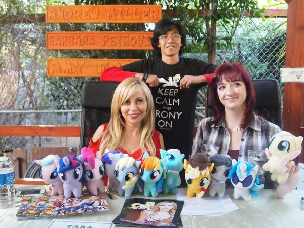 Baby ponies with Lauren Faust (creator of My Little Pony: Friendship is Magic) and Tara Strong (voice of Twilight Sparkles)