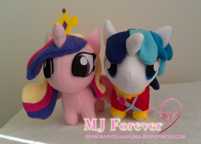 Best pony couple!  Chibi Princess Cadance and Shining Amour plushies by happybunny86