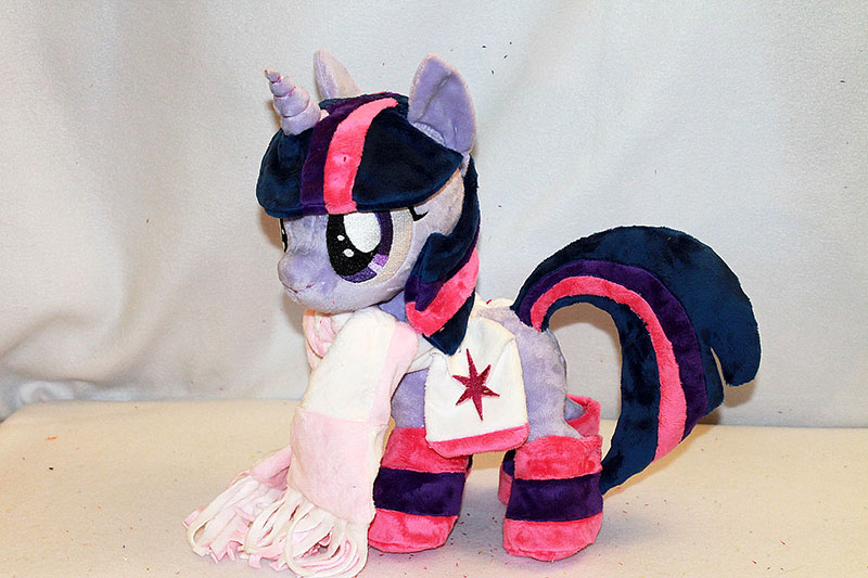"Filly Twilight Sparkle plushie (15"" tall) wearing winter gear by KarasuNezumi"