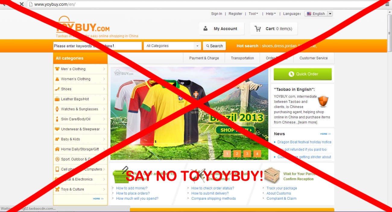 Do not use Yoybuy for your Taobao needs!