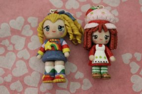 Rainbow Brite and Strawberry Shortcake Chibis (Polymer Clay Charms)