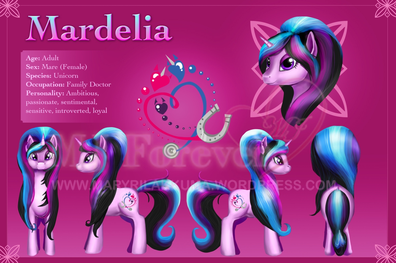 Mardelia's character reference sheet. Drawn by Stasushka. I made a few hair tweaks.