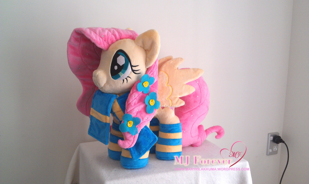 Crystal Pony Fluttershy plushie by Burzurk, wearing Rainbow Dash's gift!