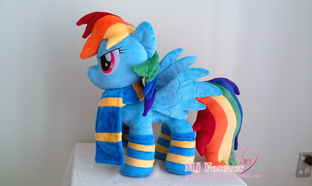 Rainbow Dash plushie wearing her Wonderbolts themed gift by Burzurk.  Doesn't she look 20% cooler?!