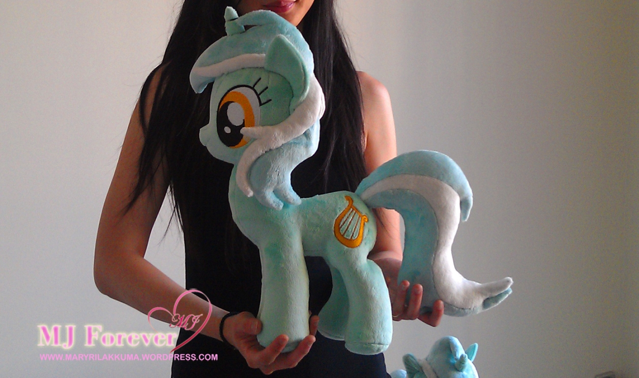 Lyra Heartstrings plushie sewn by meeee!!!  I'm selling this one! (I'm holding her for size reference!)