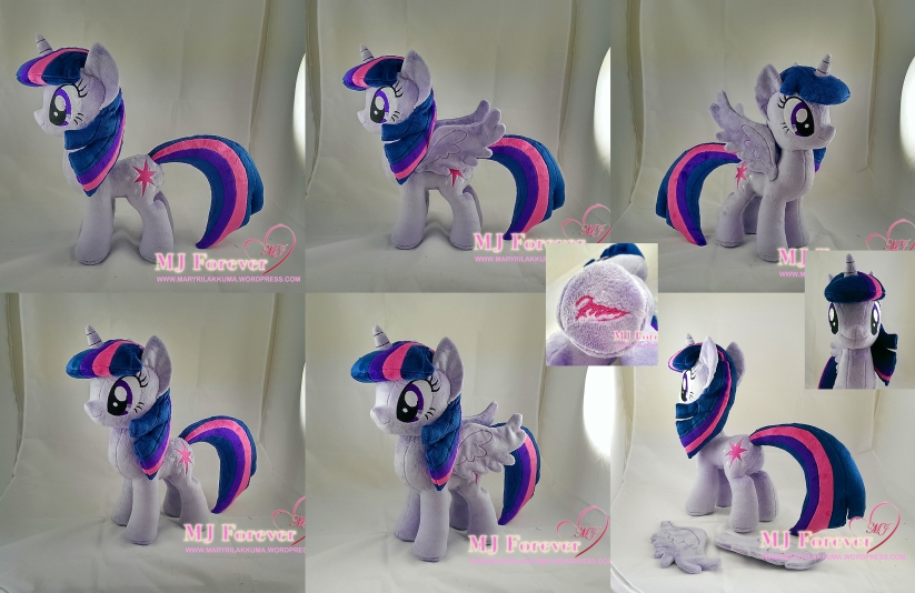 Princess Twilight Plushie (removable wings!) sewn by meeeee!!!!