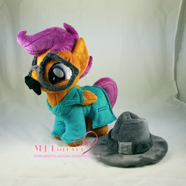 Scootaloo plushie in her disguise costume (removable) from the Twilight Time episode by mee!!!!