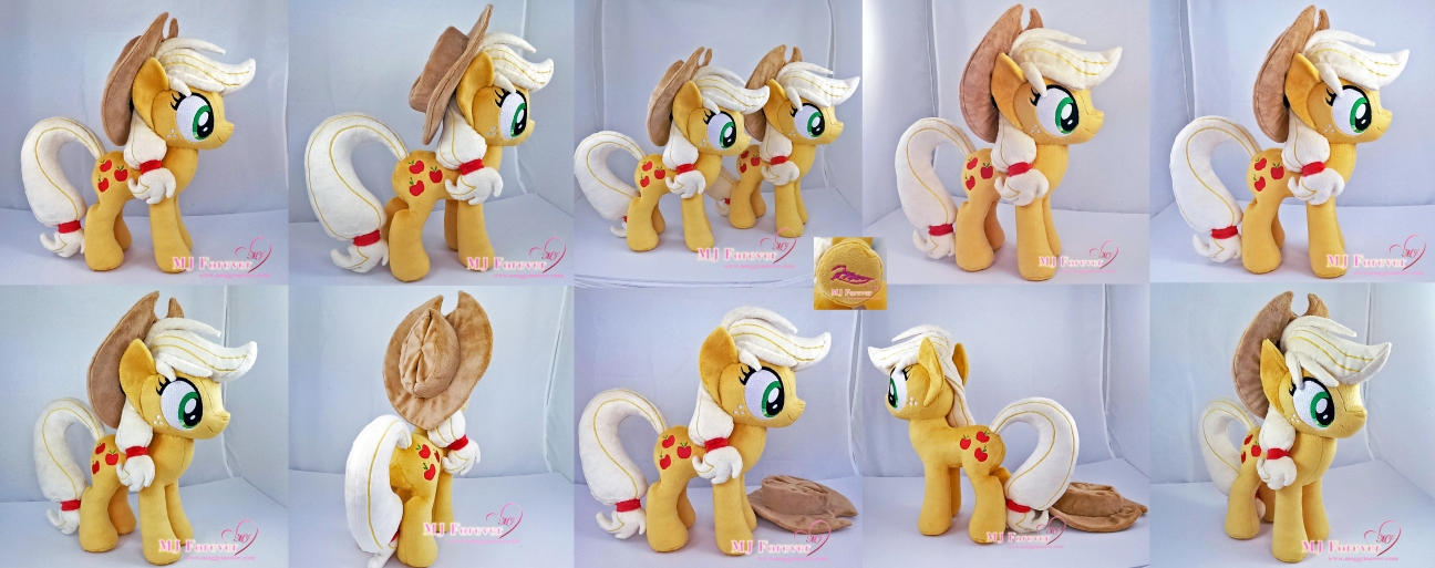 Applejack plushies sewn by meee!!!! :)