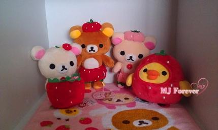 Strawberry Rilakkuma plush set